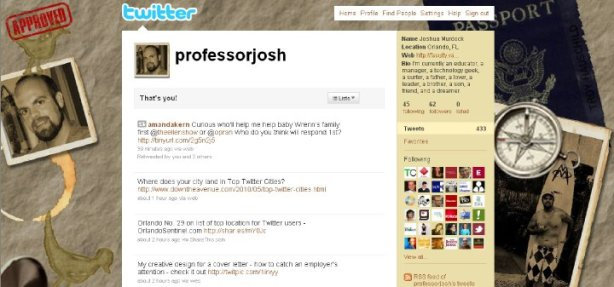 Professor Josh Custom Twitter Page