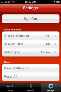 Setting of Nike+ GPS App