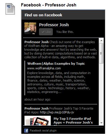 Facebook Widget Blackboard