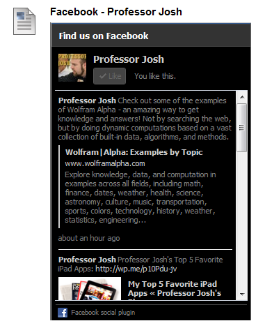Facebook Widget Blackboard