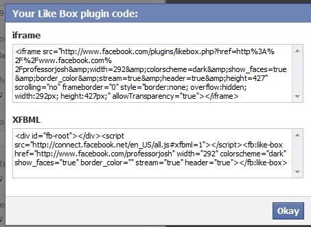 Facebook Widget iFrame