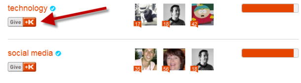 Klout Give +K