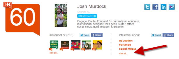 Klout Influential About SEE MORE