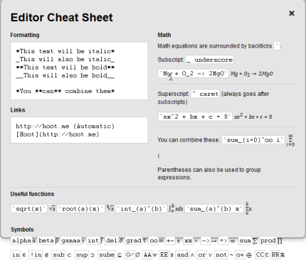 Math Editor Cheat Sheet