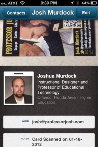 CardMunch LinkedIn Professor Josh LinkedIn