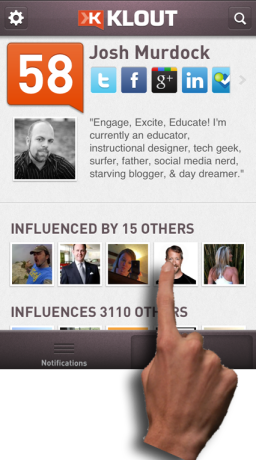 Click on one of your influencers on the Klout App