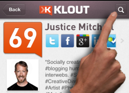 Find a user on Klout to give +K by clicking the magnify glass